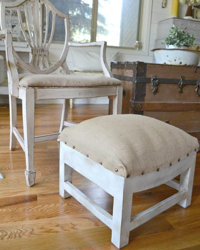 Rustic DIY Ottoman Makeover