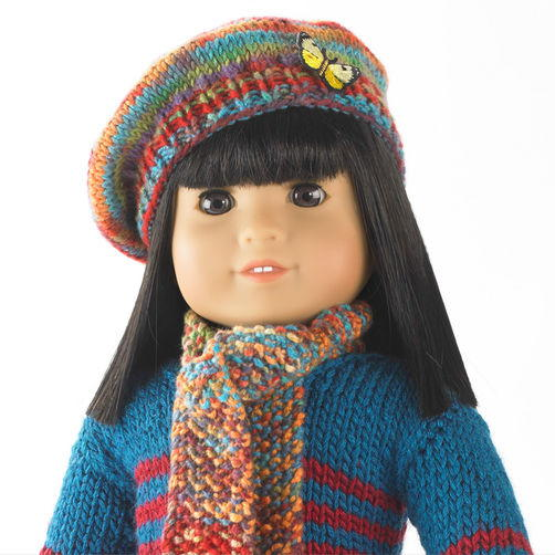 Darling Knit Doll Scarf and Beret
