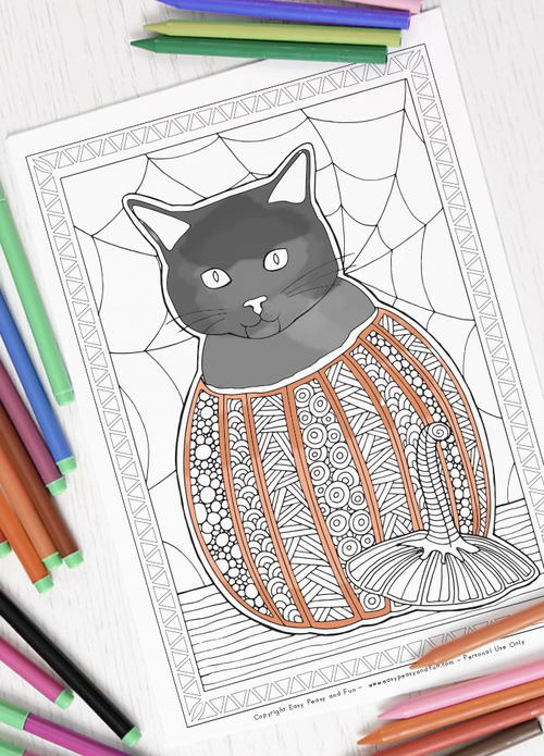 Pumpkin Cat Halloween Coloring Page