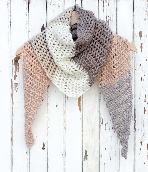 Desert Winds Modern Crochet Triangle Scarf