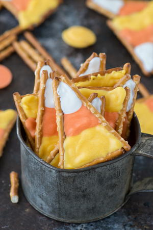 Candy Corn Pretzels