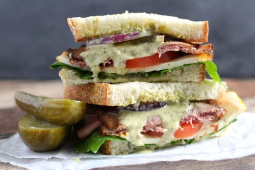 Roast Beef Sandwich With Creamy Chimichurri Sauce