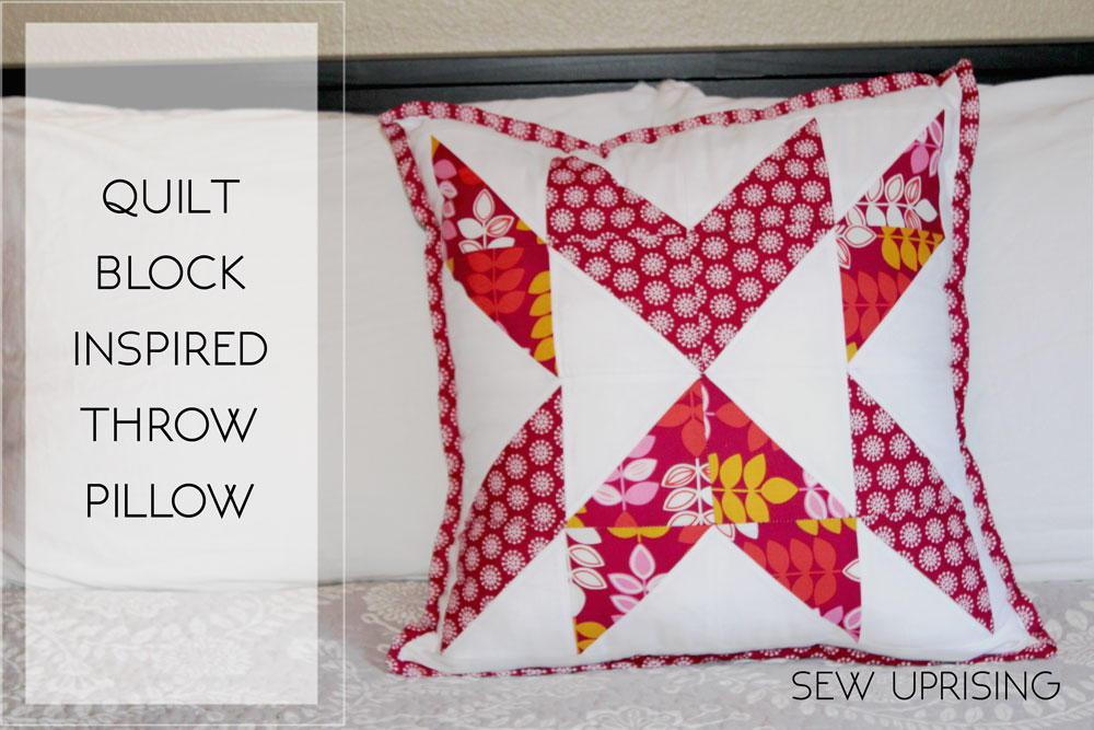 Quilt Block Inspired Throw Pillow AllFreeSewing.com