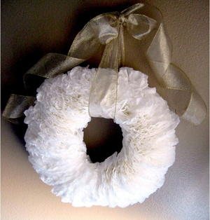 Snowy Coffee Filter Wreath