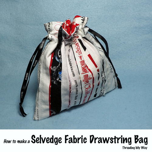 Selvedge Fabric Drawstring Bag Tutorial