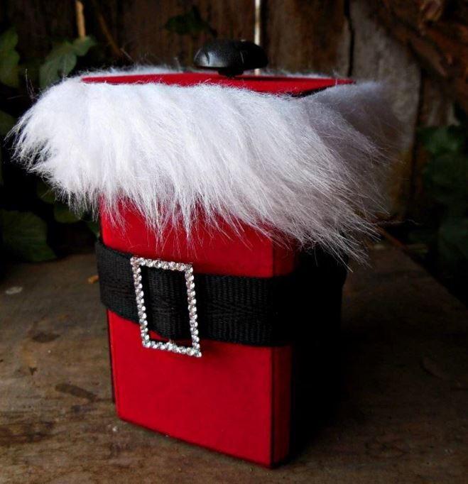 Fuzzy Buckled Santa Gift Box