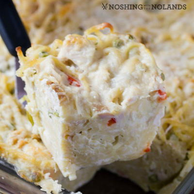 Chicken {Turkey} Cheesy Alfredo Casserole