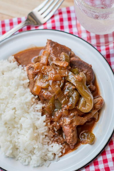 Slow Cooker Country Style Barbecue Ribs with Bell Peppers and Onions
