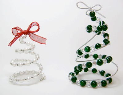 Spiral Beaded Christmas Trees