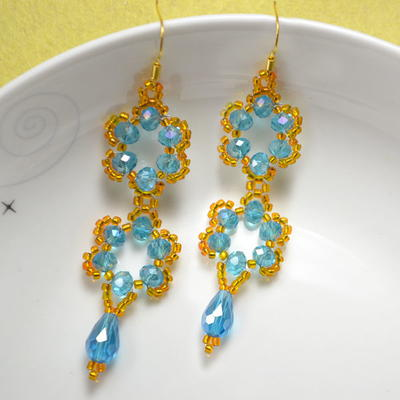 Stunning Beaded Flower Drop Earrings