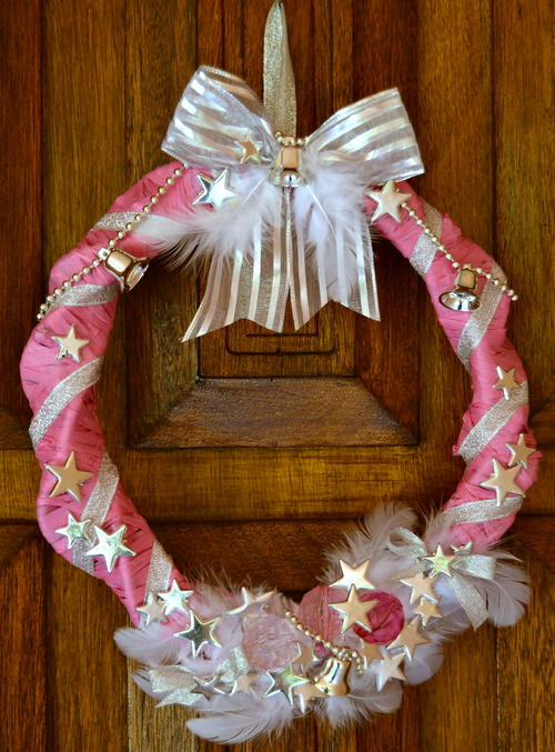 Unconventional Hot Pink Homemade Wreath