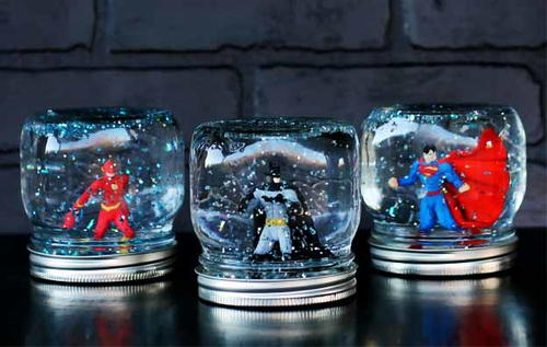 Superhero Homemade Snow Globes