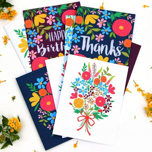 Flowery Greetings Printable Cards