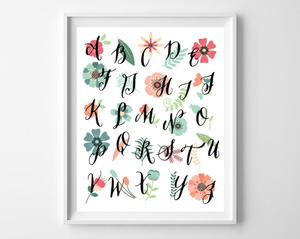 Flowery Alphabet Printable Art