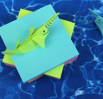 Seaworthy Sticky Note Origami Narwhal