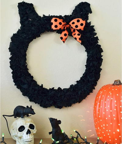 Black Cat DIY Fall Wreath
