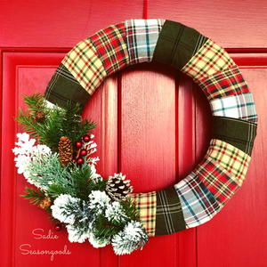 Flannel Wrapped Holiday Wreath