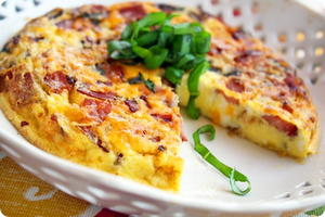 Country Frittata with Ham, Cheddar, and Basil