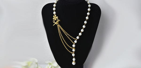 Simple Chains and Pearls Homemade Necklace