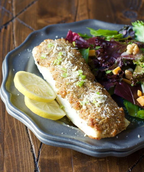 Baked Parmesan and Pecan Crusted Halibut