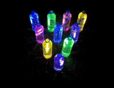 Glow-in-the-Dark Bowling Plastic Bottle Craft