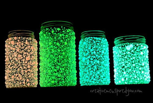 Recycled Glow In The Dark Galaxy Mason Jar