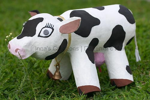 Bessie Papier Mache Cow Craft