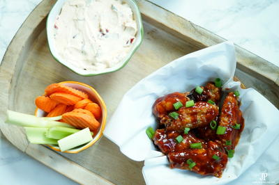Baked Spicy BBQ Adobo Chicken Wings