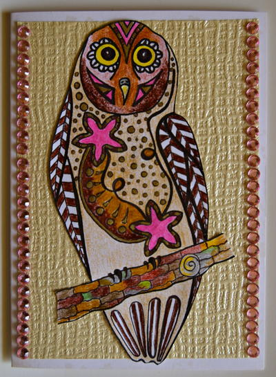 Bejeweled Owl Homemade Birthday Card