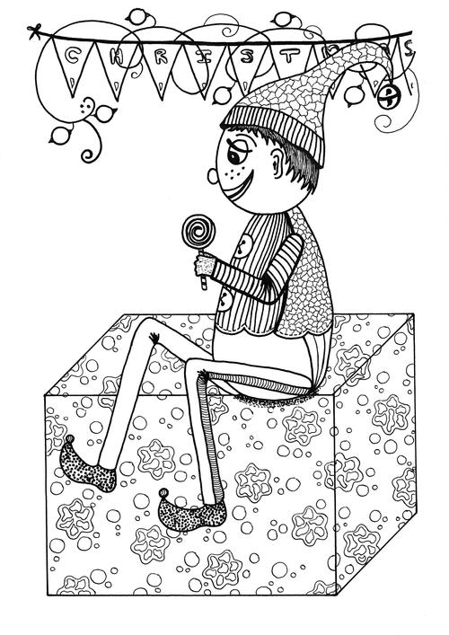 Holly Jolly Elf Coloring Page