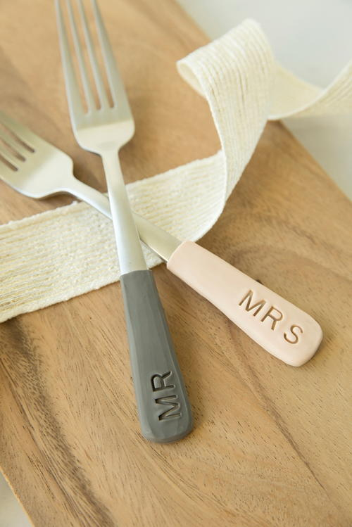 Personalized Clay Wedding Cake Forks