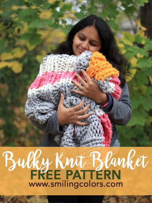 Colorful Bulky Knit Blanket