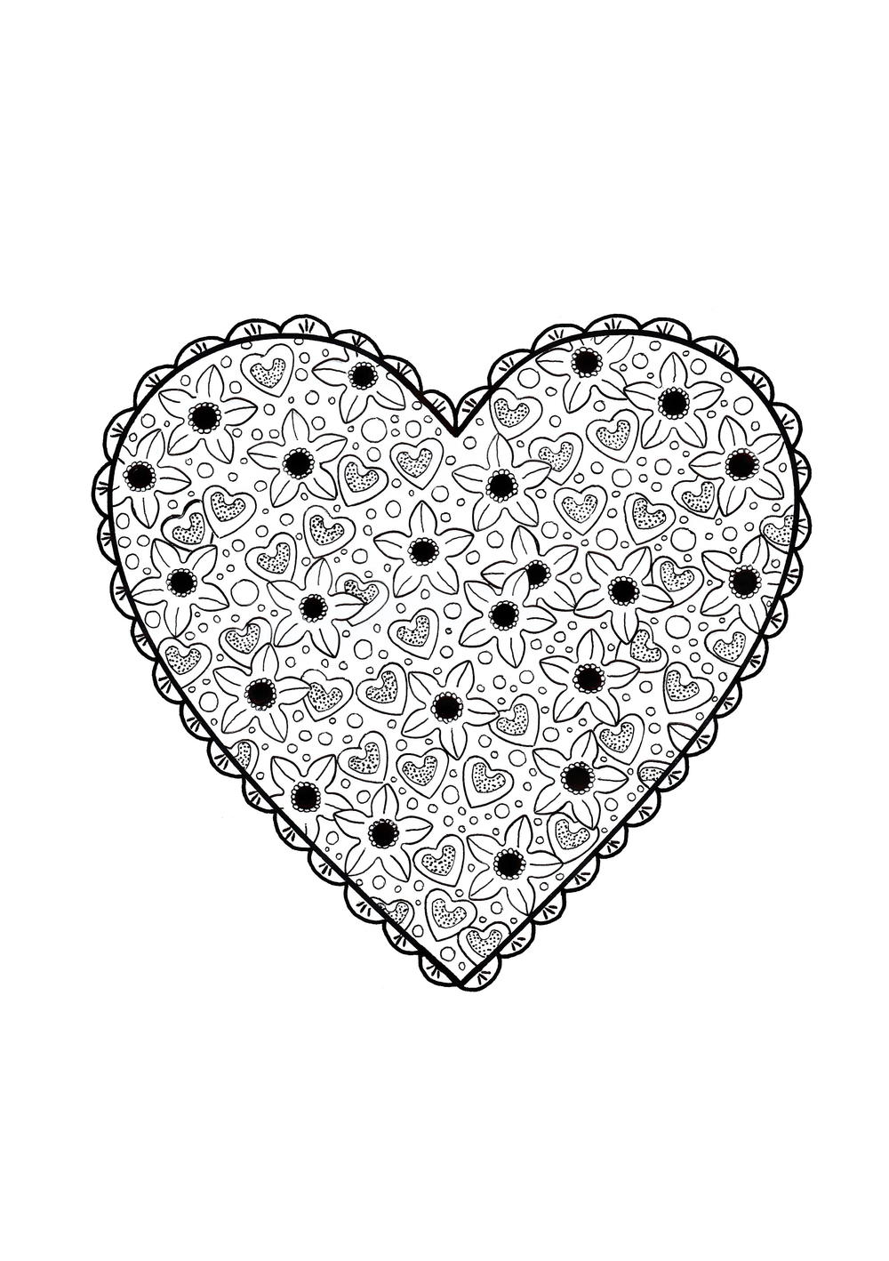 Valentine 39 s Paper Doily Adult Coloring Page