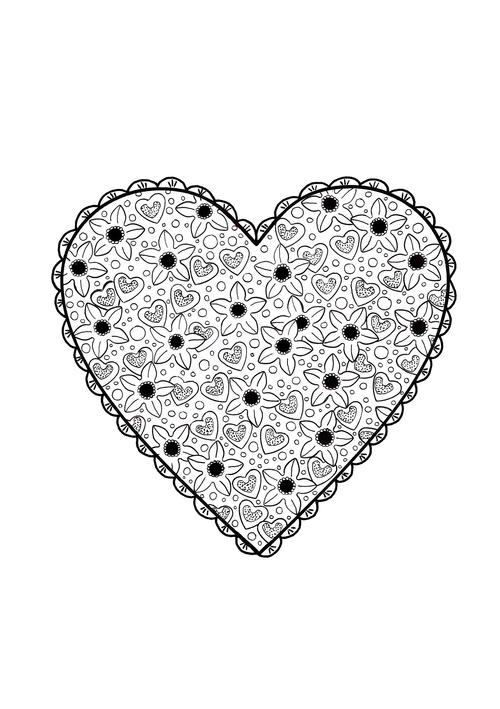 Valentines Paper Doily Adult Coloring Page