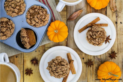 Vegan Pumpkin Muffins with Cinnamon Streusel