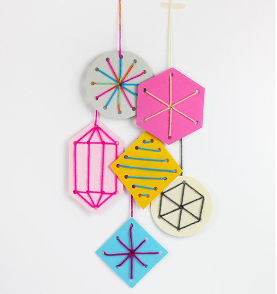 Sewing Card Christmas Ornament Crafts for Kids