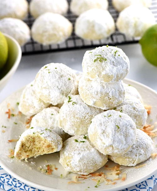 Lime Coconut Snowball Christmas Cookies