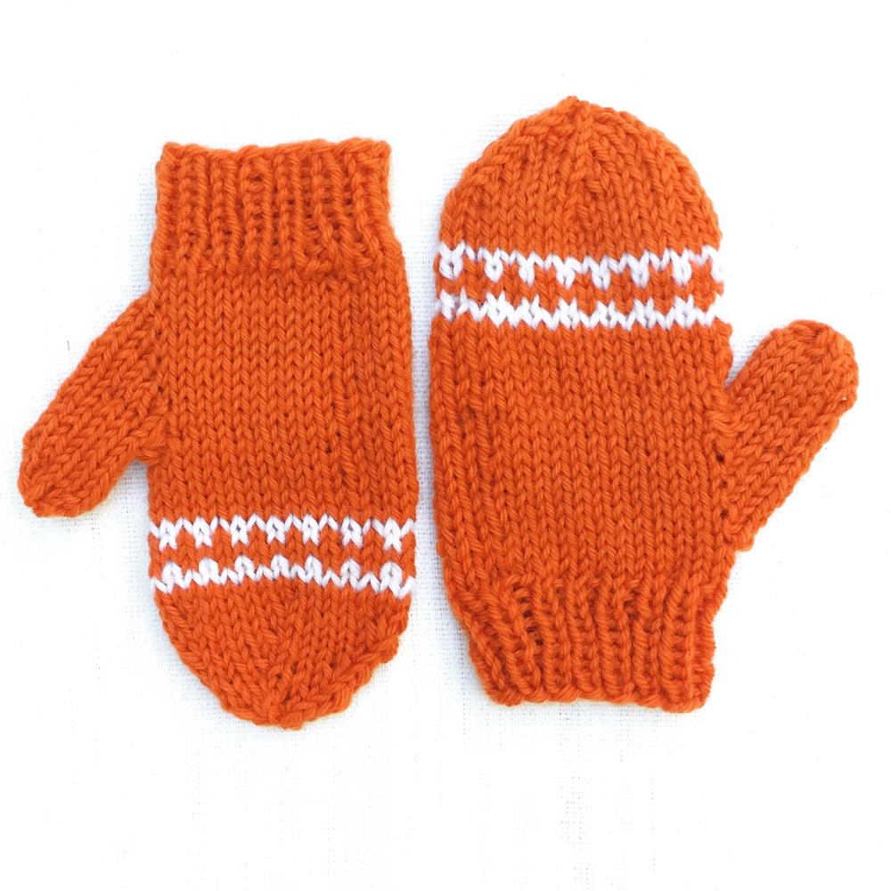 Fingerless Gloves Knitting Pattern For Toddlers : Orange Striped Toddler Mittens AllFreeKnitting.com