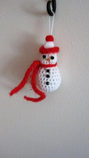 Friendly Snowman Crochet Ornament