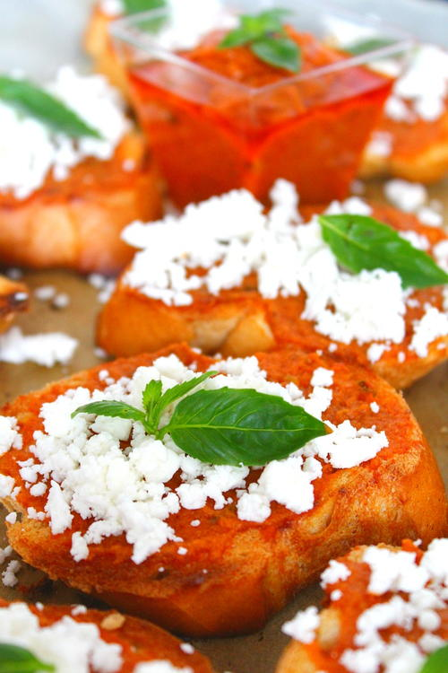 Red Pesto Feta Cheese Crostini