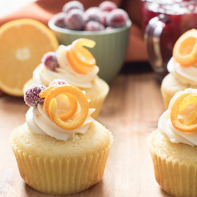 Cranberry Orange Cupcakes with White Chocolate Buttercream