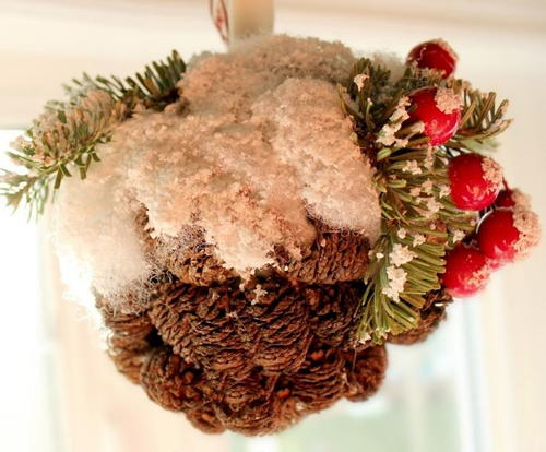 Snowy Pine Cone Ball Ornament