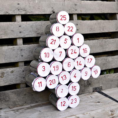 Upcycled Tin Can Advent Calendar