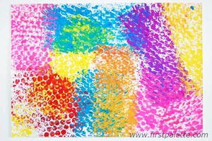 Interesting and Colorful Bubble Wrap Art