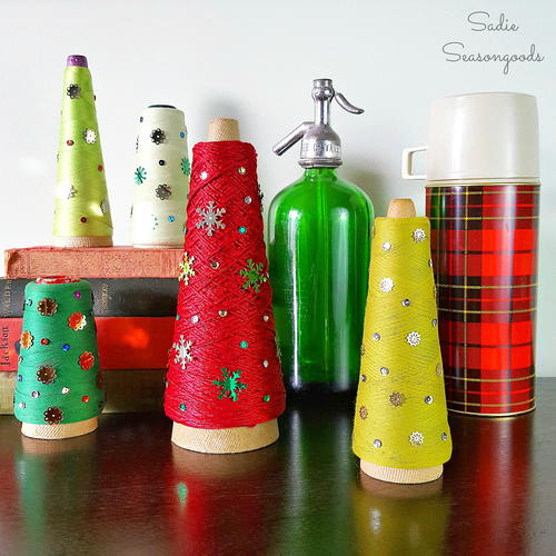 Vintage Thread Spool Tabletop Trees