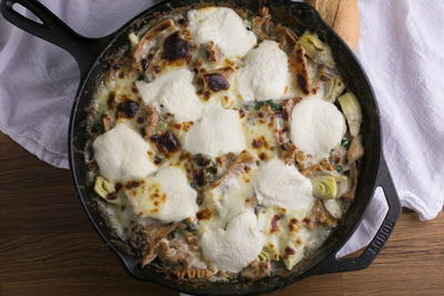 One-Skillet White Chicken Lasagna