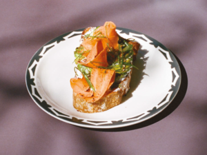 Avocado Toast with Pickled Carrots, Garlic Cream, and House Spice Mix