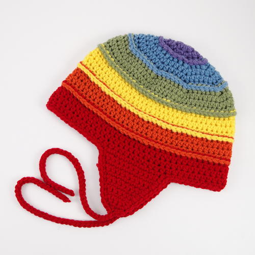 Colors of the Rainbow Earflap Beanie