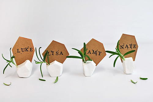 Geometric Clay Place Card Holders