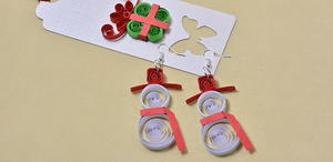 Paper Quilled Snowman Earrings